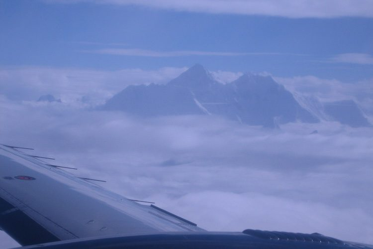 Everest and plane wing